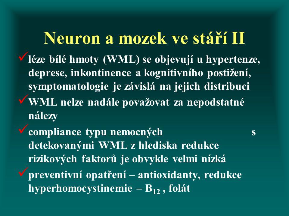 Neuron a mozek ve stáří II léze bílé hmoty (WML) se objevují u hypertenze, deprese, inkontinence a kognitivního postižení, symptomatologie je závislá na jejich distribuci WML nelze nadále považovat za nepodstatné nálezy compliance typu nemocných s detekovanými WML z hlediska redukce rizikových faktorů je obvykle velmi nízká preventivní opatření – antioxidanty, redukce hyperhomocystinemie – B 12, folát