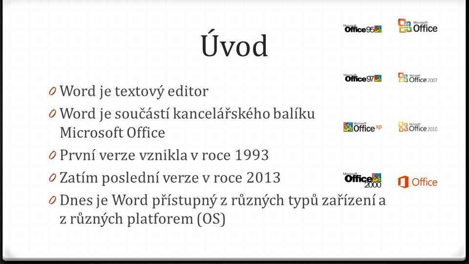 Úvod 0 Word je textový editor 0 Word je součástí kancelářského balíku Microsoft Office 0 První verze vznikla v roce 1993 0 Zatím poslední verze v roce 2013 0 Dnes je Word přístupný z různých typů zařízení a z různých platforem (OS)