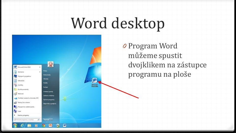 Word desktop 0 Program Word můžeme spustit dvojklikem na zástupce programu na ploše