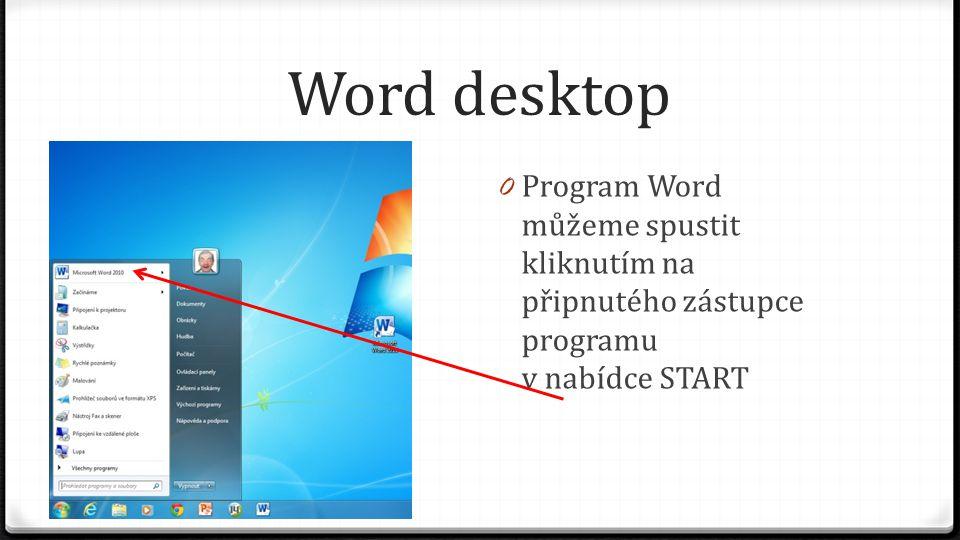 Word desktop 0 Program Word můžeme spustit kliknutím na připnutého zástupce programu v nabídce START
