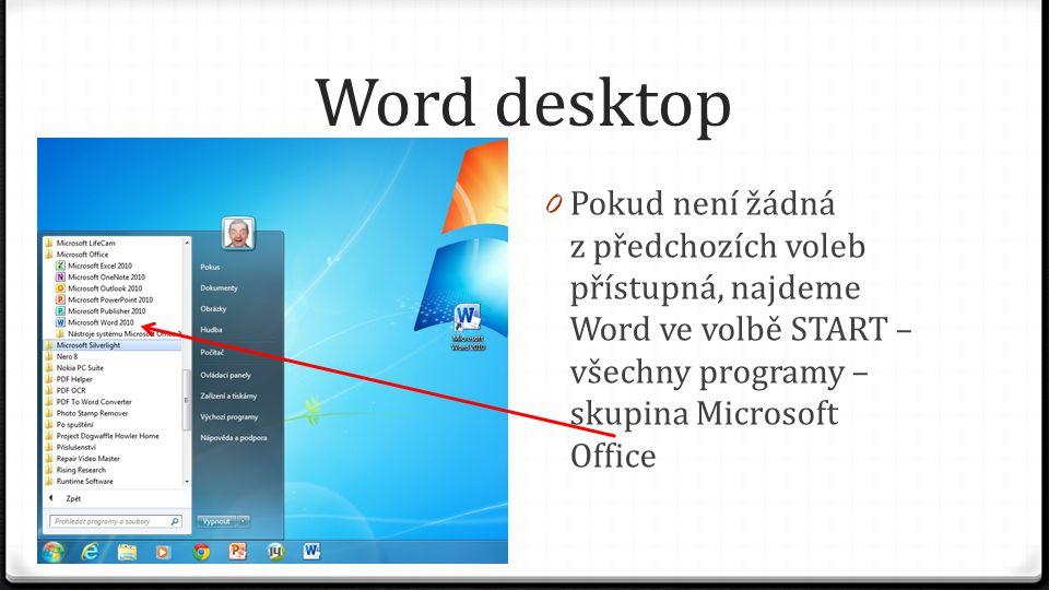 Word desktop 0 Pokud není žádná z předchozích voleb přístupná, najdeme Word ve volbě START – všechny programy – skupina Microsoft Office