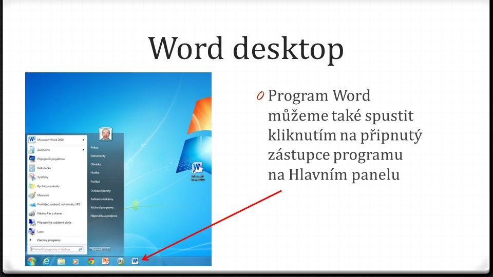 Word desktop 0 Program Word můžeme také spustit kliknutím na připnutý zástupce programu na Hlavním panelu