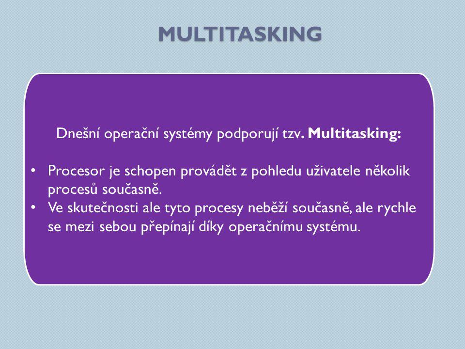 MULTITASKING Dnešní operační systémy podporují tzv. Multitasking: Procesor je schopen provádět z pohledu uživatele několik procesů současně. Ve skuteč