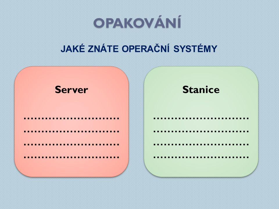 OPAKOVÁNÍ JAKÉ ZNÁTE OPERAČNÍ SYSTÉMY Server ……………………… ……………………… Server ……………………… ……………………… Stanice ……………………… ……………………… Stanice ……………………… ………………………