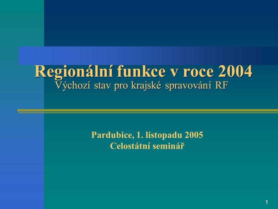 1 Regionální funkce v roce 2004 Výchozí stav pro krajské spravování RF Pardubice, 1.