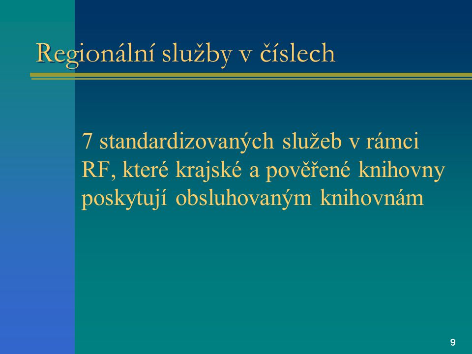 9 Regionální služby v číslech 7 standardizovaných služeb v rámci RF, které krajské a pověřené knihovny poskytují obsluhovaným knihovnám