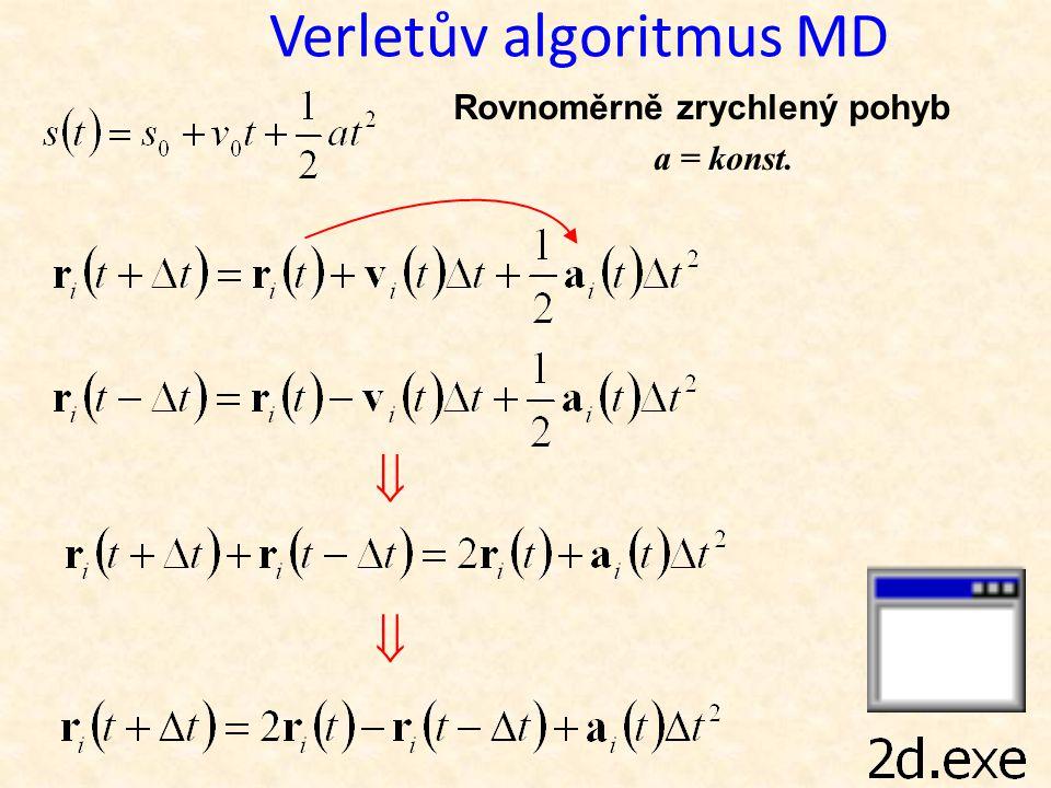 Verletův algoritmus MD   Rovnoměrně zrychlený pohyb a = konst.