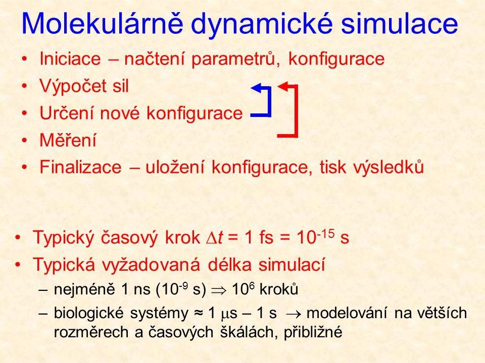 Typický časový krok  t = 1 fs = 10 -15 s Typická vyžadovaná délka simulací –nejméně 1 ns (10 -9 s)  10 6 kroků –biologické systémy ≈ 1  s – 1 s  modelování na větších rozměrech a časových škálách, přibližné Molekulárně dynamické simulace Iniciace – načtení parametrů, konfigurace Výpočet sil Určení nové konfigurace Měření Finalizace – uložení konfigurace, tisk výsledků