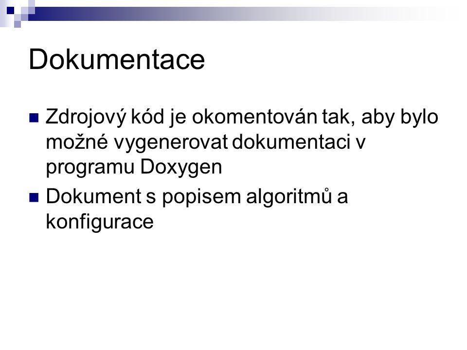 Dokumentace Zdrojový kód je okomentován tak, aby bylo možné vygenerovat dokumentaci v programu Doxygen Dokument s popisem algoritmů a konfigurace