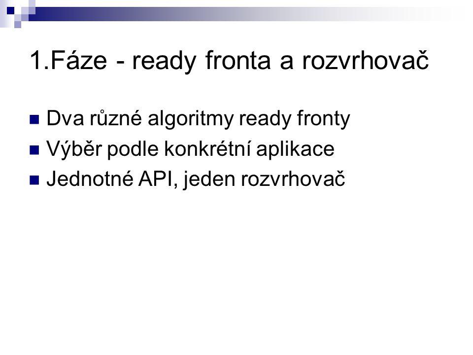 1.Fáze - ready fronta a rozvrhovač Dva různé algoritmy ready fronty Výběr podle konkrétní aplikace Jednotné API, jeden rozvrhovač