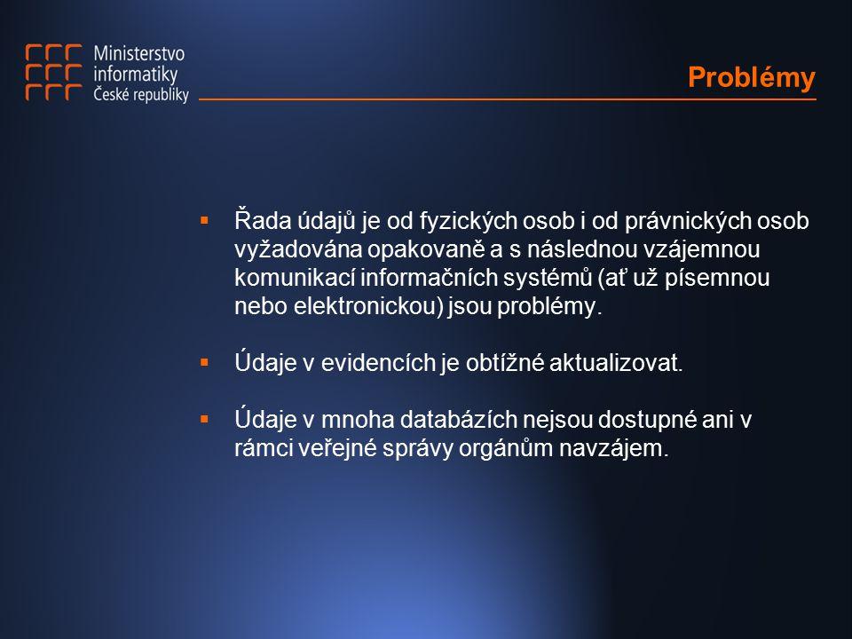 Problémy  Řada údajů je od fyzických osob i od právnických osob vyžadována opakovaně a s následnou vzájemnou komunikací informačních systémů (ať už p