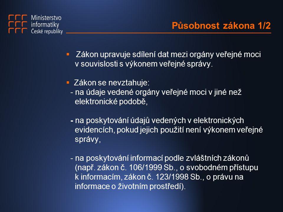 Působnost zákona 2/2  Sdílení dat zahrnuje: - poskytování dat z informačních systémů veřejné správy sloužící k plnění určitého jednorázového úkolu veřejné správy (např.