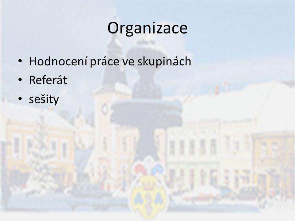 Organizace Hodnocení práce ve skupinách Referát sešity