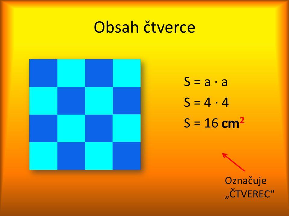 """Obsah čtverce S = a ∙ a S = 4 ∙ 4 S = 16 cm 2 cm 2 Označuje """"ČTVEREC"""""""