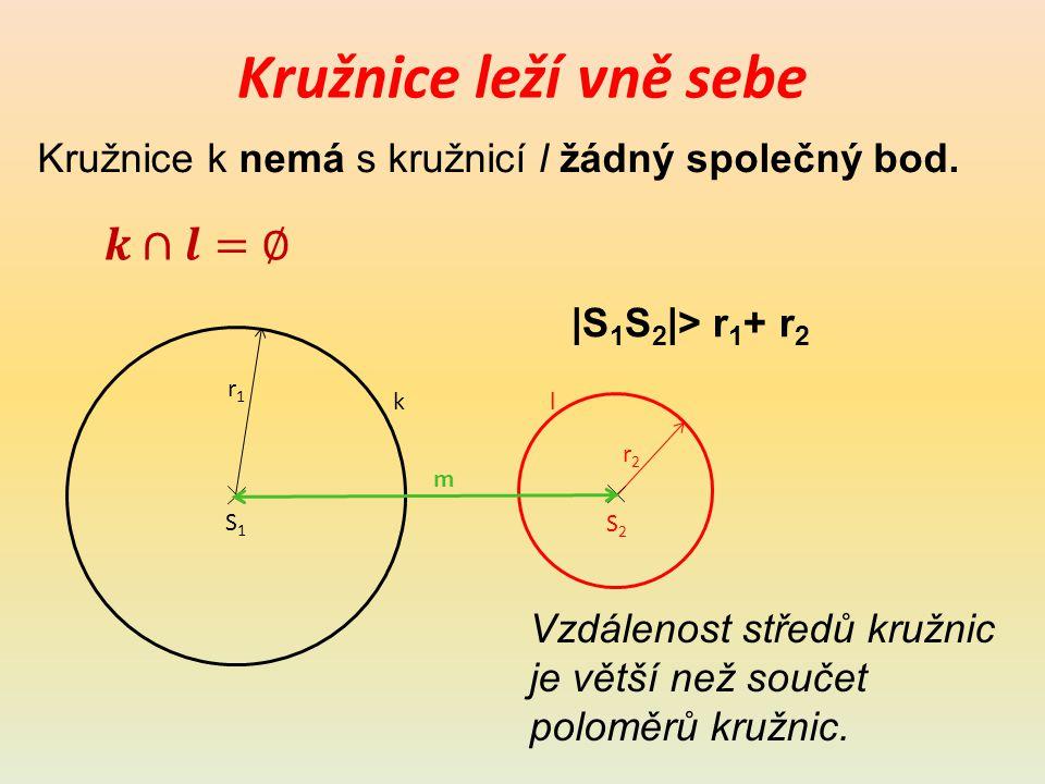 Kružnice leží vně sebe Kružnice k nemá s kružnicí l žádný společný bod.