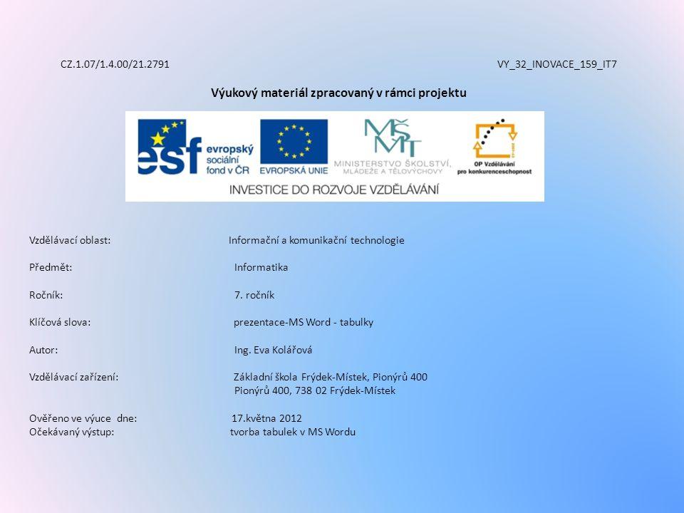 CZ.1.07/1.4.00/21.2791 VY_32_INOVACE_159_IT7 Výukový materiál zpracovaný v rámci projektu Vzdělávací oblast: Informační a komunikační technologie Předmět:Informatika Ročník:7.