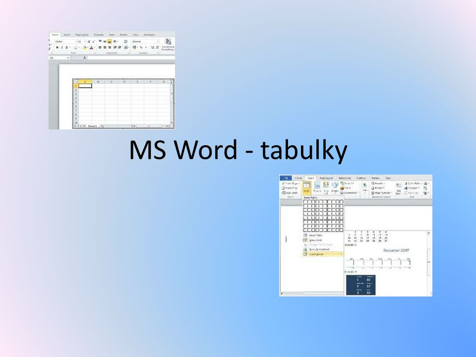 MS Word - tabulky