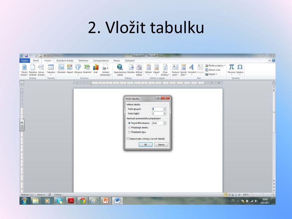 2. Vložit tabulku
