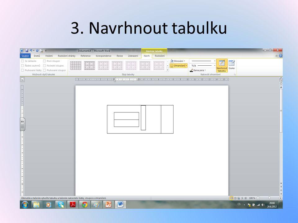 3. Navrhnout tabulku