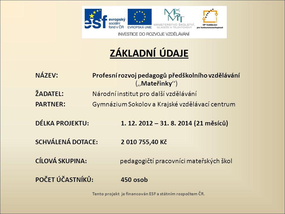 CÍLE PROJEKTU zvýšení kvality počátečního vzdělávání v souladu s probíhající kurikulární reformou prostřednictvím pedagogů předškolního vzdělávání zvýšení kompetencí pedagogických pracovníků předškolního vzdělávání Tento projekt je financován ESF a státním rozpočtem ČR.