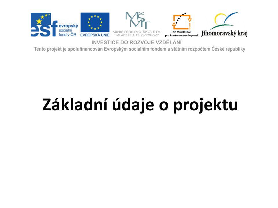 Zdroj financování:Operační program (JmK) Vzdělávání pro konkurenceschopnost Číslo projektu: CZ.1.07/1.3.10/02.0158 Termín zahájení:1.1.2010 (resp.