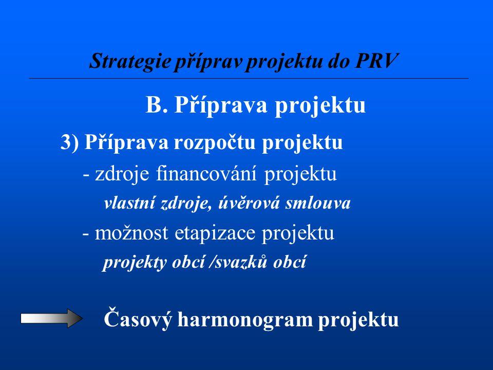 B. Příprava projektu 3) Příprava rozpočtu projektu - zdroje financování projektu vlastní zdroje, úvěrová smlouva - možnost etapizace projektu projekty