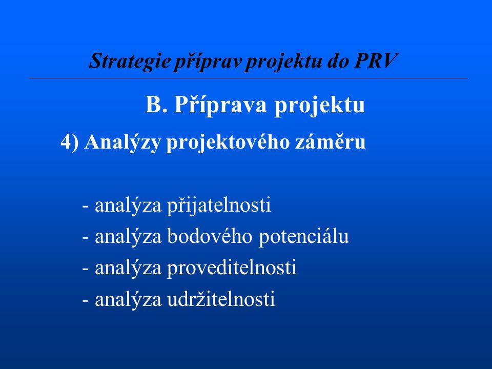 B. Příprava projektu 4) Analýzy projektového záměru - analýza přijatelnosti - analýza bodového potenciálu - analýza proveditelnosti - analýza udržitel