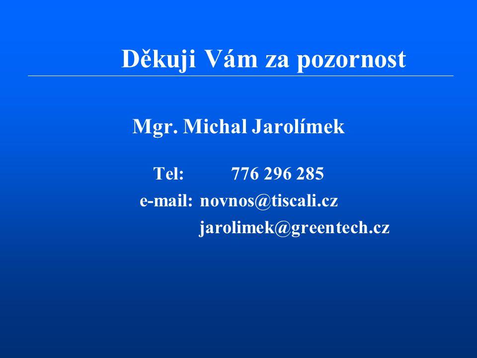 Mgr. Michal Jarolímek Tel: 776 296 285 e-mail: novnos@tiscali.cz jarolimek@greentech.cz Děkuji Vám za pozornost