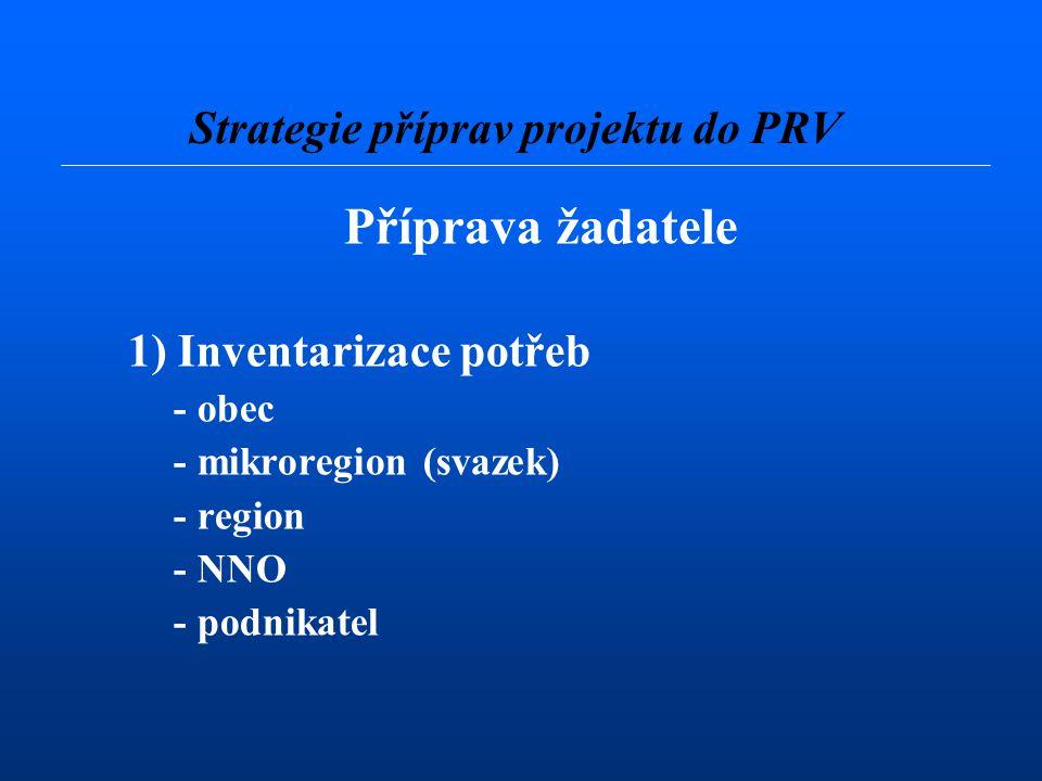 Příprava žadatele 1) Inventarizace potřeb - obec - mikroregion (svazek) - region - NNO - podnikatel Strategie příprav projektu do PRV