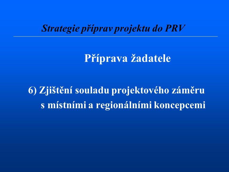 Příprava žadatele 6) Zjištění souladu projektového záměru s místními a regionálními koncepcemi Strategie příprav projektu do PRV