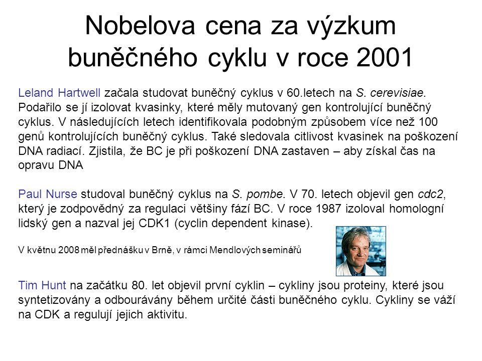 Nobelova cena za výzkum buněčného cyklu v roce 2001 Leland Hartwell začala studovat buněčný cyklus v 60.letech na S.