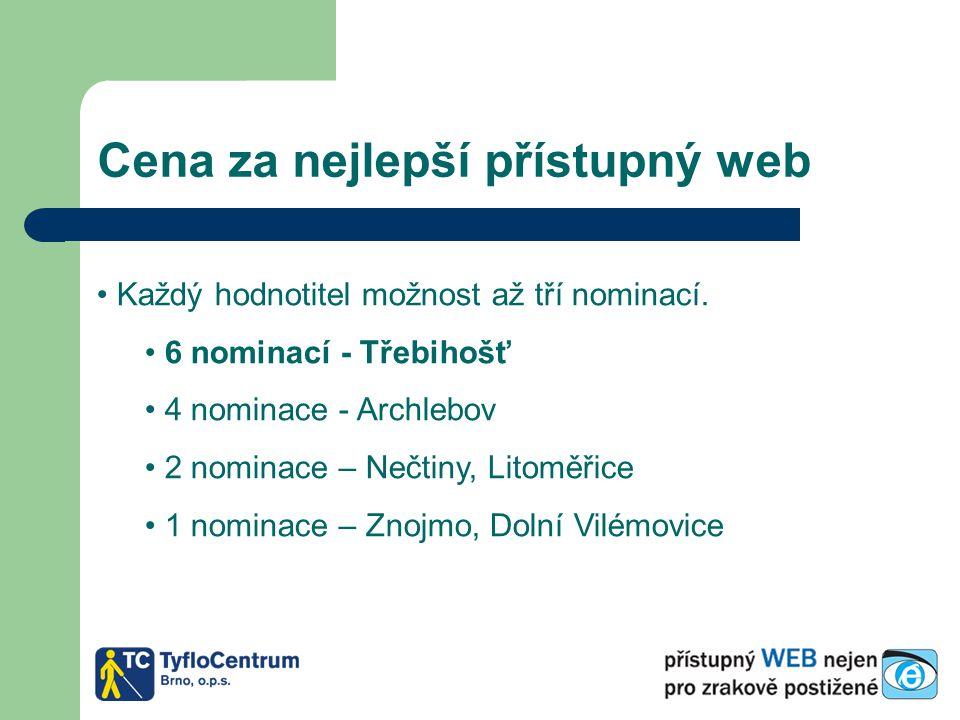 Cena za nejlepší přístupný web Každý hodnotitel možnost až tří nominací. 6 nominací - Třebihošť 4 nominace - Archlebov 2 nominace – Nečtiny, Litoměřic