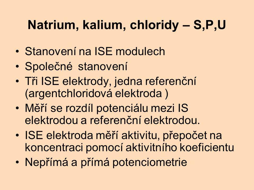 Natrium, kalium, chloridy – S,P,U Stanovení na ISE modulech Společné stanovení Tři ISE elektrody, jedna referenční (argentchloridová elektroda ) Měří se rozdíl potenciálu mezi IS elektrodou a referenční elektrodou.
