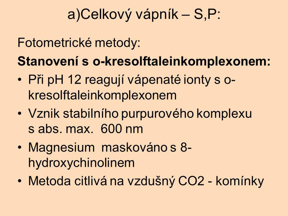 a)Celkový vápník – S,P: Fotometrické metody: Stanovení s o-kresolftaleinkomplexonem: Při pH 12 reagují vápenaté ionty s o- kresolftaleinkomplexonem Vz