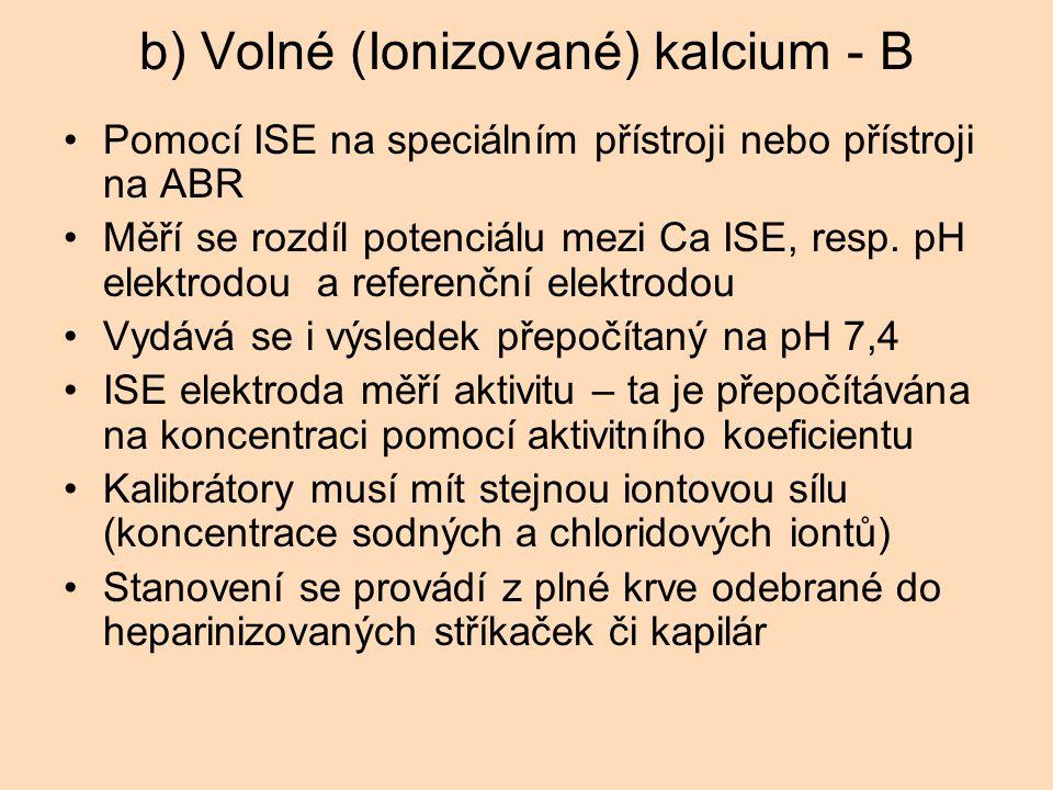 b) Volné (Ionizované) kalcium - B Pomocí ISE na speciálním přístroji nebo přístroji na ABR Měří se rozdíl potenciálu mezi Ca ISE, resp.