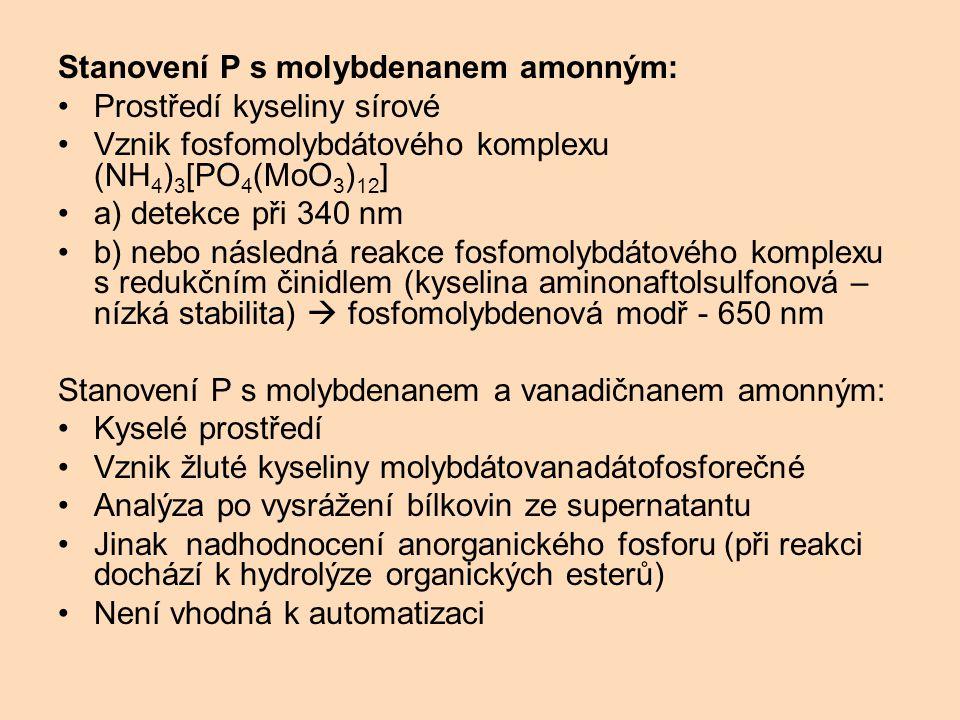 Stanovení P s molybdenanem amonným: Prostředí kyseliny sírové Vznik fosfomolybdátového komplexu (NH 4 ) 3 [PO 4 (MoO 3 ) 12 ] a) detekce při 340 nm b)