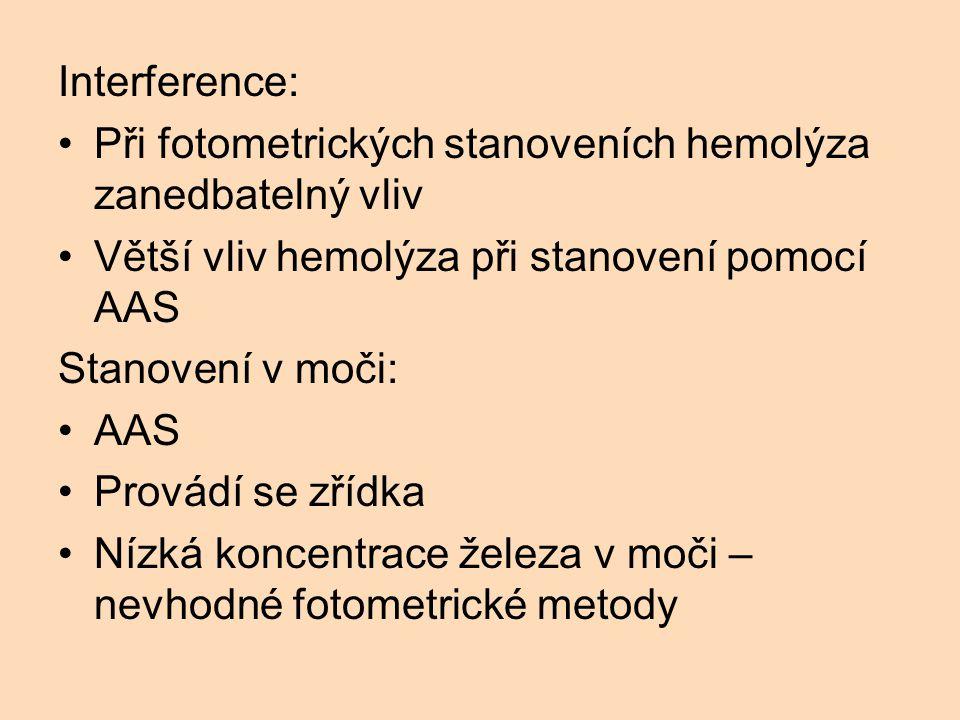 Interference: Při fotometrických stanoveních hemolýza zanedbatelný vliv Větší vliv hemolýza při stanovení pomocí AAS Stanovení v moči: AAS Provádí se zřídka Nízká koncentrace železa v moči – nevhodné fotometrické metody