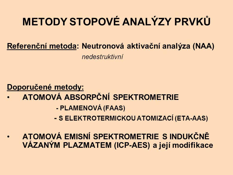 METODY STOPOVÉ ANALÝZY PRVKŮ Referenční metoda: Neutronová aktivační analýza (NAA) nedestruktivní Doporučené metody: ATOMOVÁ ABSORPČNÍ SPEKTROMETRIE - PLAMENOVÁ (FAAS) - S ELEKTROTERMICKOU ATOMIZACÍ (ETA-AAS) ATOMOVÁ EMISNÍ SPEKTROMETRIE S INDUKČNĚ VÁZANÝM PLAZMATEM (ICP-AES) a její modifikace