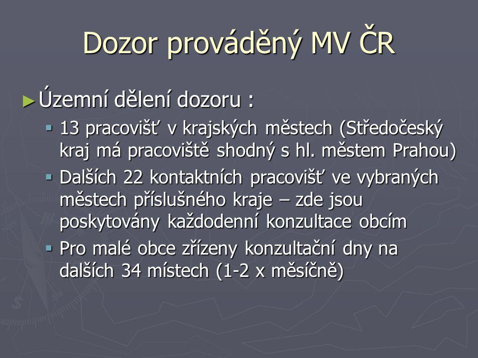Dozor prováděný MV ČR ► Územní dělení dozoru :  13 pracovišť v krajských městech (Středočeský kraj má pracoviště shodný s hl.