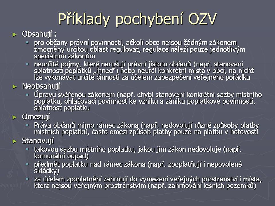 Příklady pochybení OZV ► Obsahují :  pro občany právní povinnosti, ačkoli obce nejsou žádným zákonem zmocněny určitou oblast regulovat, regulace nále