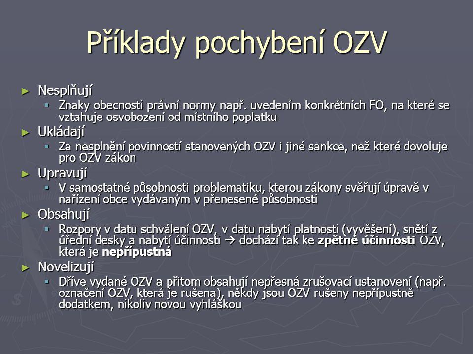 Příklady pochybení OZV ► Nesplňují  Znaky obecnosti právní normy např. uvedením konkrétních FO, na které se vztahuje osvobození od místního poplatku