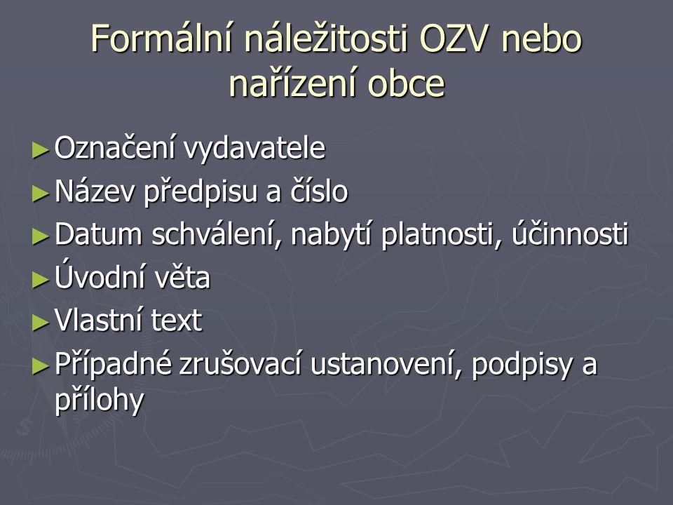 Oblasti samostatné působnosti -> OZV ► I.