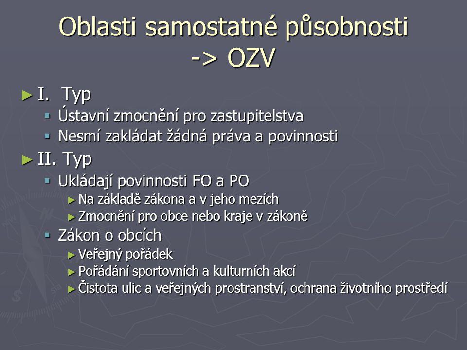 Oblasti samostatné působnosti -> OZV ► I. Typ  Ústavní zmocnění pro zastupitelstva  Nesmí zakládat žádná práva a povinnosti ► II. Typ  Ukládají pov