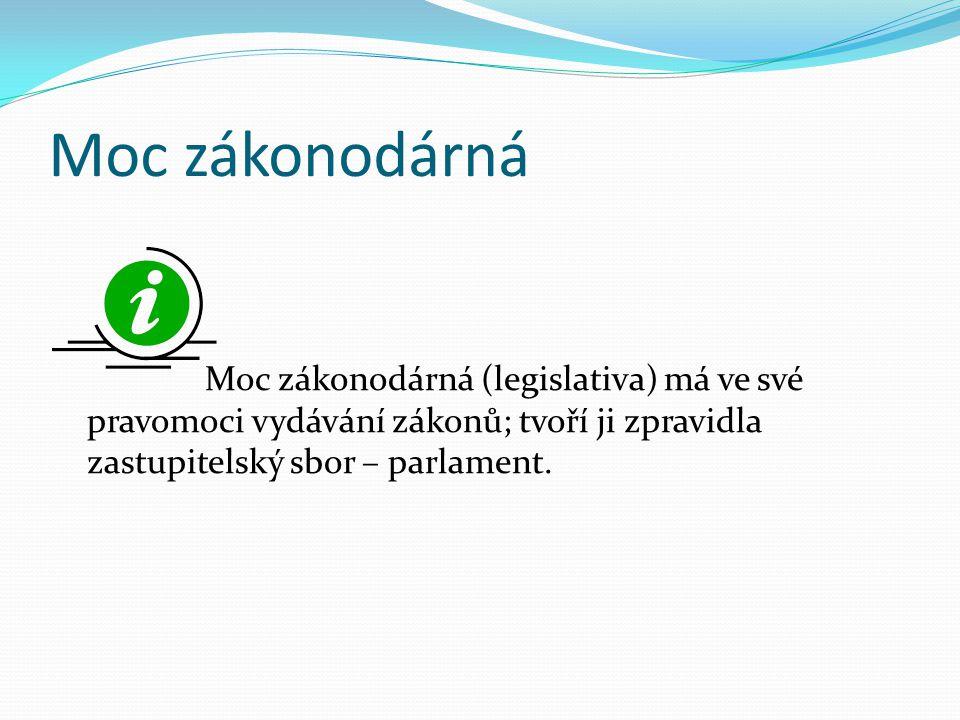 Moc zákonodárná Moc zákonodárná (legislativa) má ve své pravomoci vydávání zákonů; tvoří ji zpravidla zastupitelský sbor – parlament.