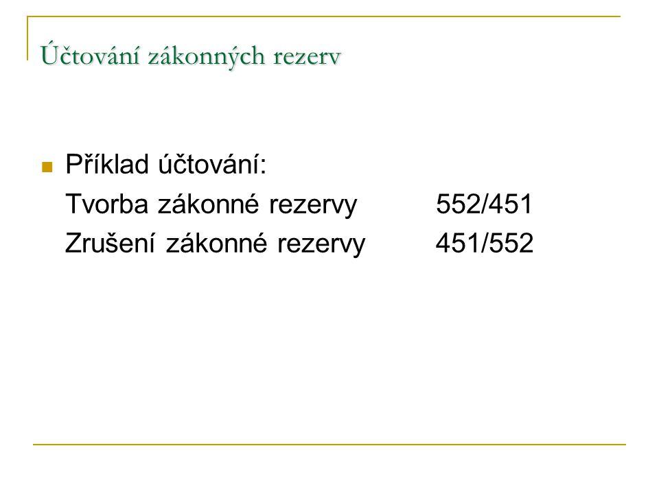 Účtování zákonných rezerv Příklad účtování: Tvorba zákonné rezervy552/451 Zrušení zákonné rezervy451/552