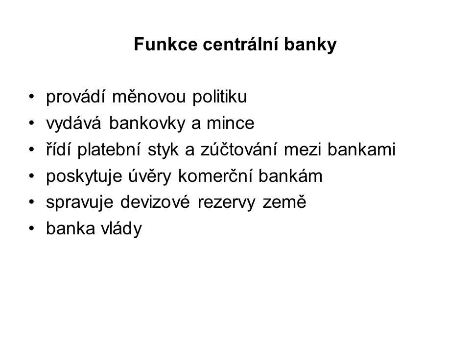 Funkce centrální banky provádí měnovou politiku vydává bankovky a mince řídí platební styk a zúčtování mezi bankami poskytuje úvěry komerční bankám sp