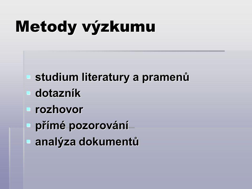 Metody výzkumu  studium literatury a pramenů  dotazník  rozhovor  přímé pozorování  analýza dokumentů