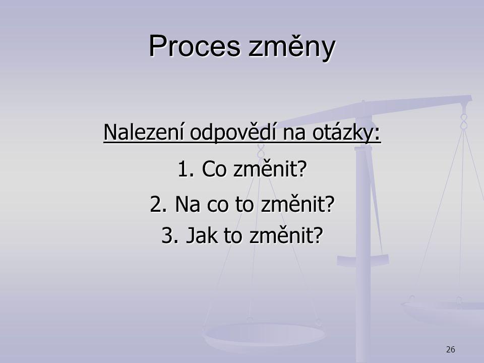 25 Proces změny Možné přístupy: Sokratovská metoda – prokazování logiky prostřednictvím dialogu Sokratovská metoda – prokazování logiky prostřednictví