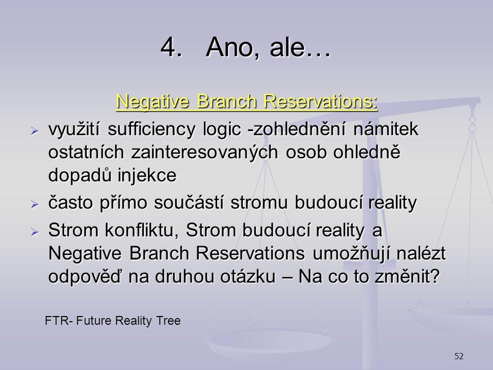 51 3.Nejsme schopni nalézt efektivní řešení DE Injekce DE Injekce Strom budoucí reality DE- Desirable Effect- vhodný, žádoucí efekt