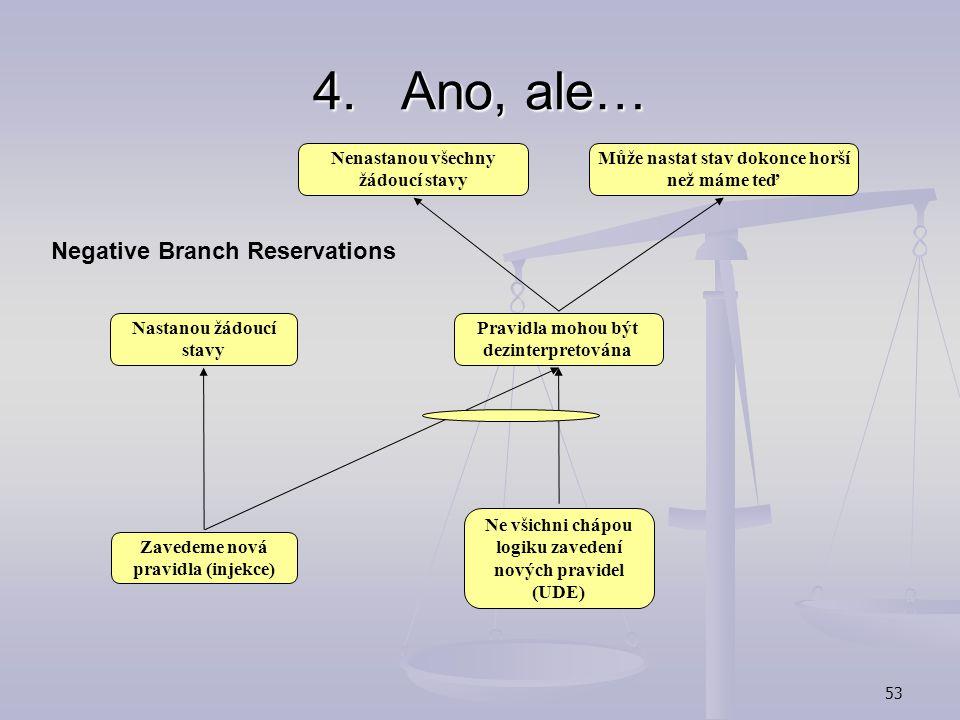 52 4.Ano, ale… Negative Branch Reservations:  využití sufficiency logic -zohlednění námitek ostatních zainteresovaných osob ohledně dopadů injekce 